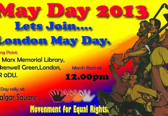 LONDON May day march and rally
